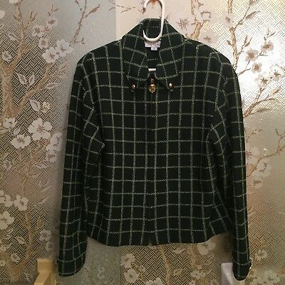 St. John Collection By Marie Gray Dark Green And White Checkered Size S Jacket