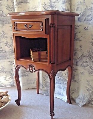 French Cherry Bedside Table - Lamp Table - Tall Louis Style - Drawer & Open Comp