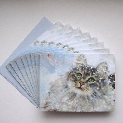 Maine Coon Cat Christmas Cards 16 CARDS & 16 BLUE ENVELOPES ~ Sweet Snow Kitty