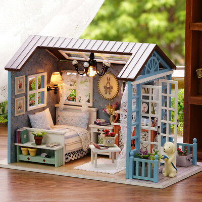 Doll Miniature Wooden House Studio Kit + LED Light Furniture DIY Handcraft Toys