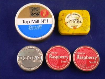 "Old Tobacco tins, Snuff tins. 5 x Tins. ""Top Mill"" ""Ozana"" ""Singletons"""