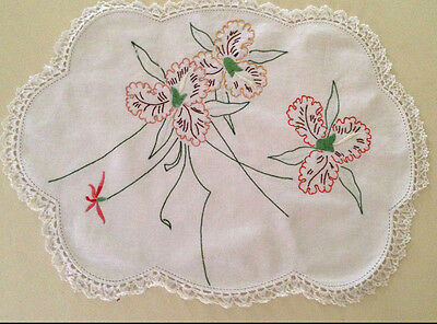 Vintage 1950s hand embroidered linen doily ~  Orchid ~  43 x 33 cm ~ Green Brown