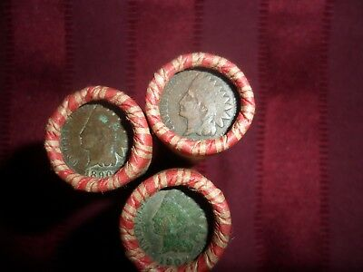 Shotgun Roll Unsearched Wheat Pennies Good Mix Date  Indian Head On The End
