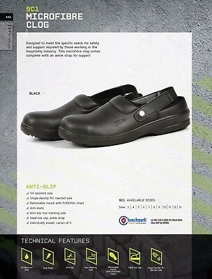 JB's west Microfibre Safety Black Clog Oil Resistant sole Anti-Slip Hospitality