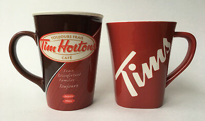 Tim Hortons Limited Edition Pair Coffee Mugs Cups #012 & #013 Always Fresh Tims
