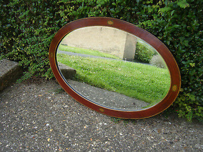 Antique Edwardian Large Inlaid Mahogany Bevelled Edge Mantlepiece Mirror