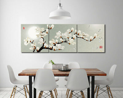 White Flowers Moon Photo Print Painting Canvas Abstract Art Wall Decor NO frame