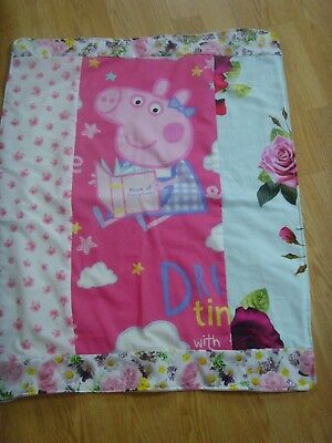 56cms x 72cms NEW PEPPA PIG BABY BLANKET PINK TED BAKER ROSE COTTON FLEECE BACK