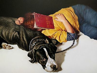 Original vtg oil portrait painting signed Agim Sulaj History Books boy with dog