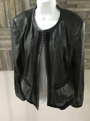 Elie Tahari Black Leather Studded Jacket Size 16 Must See Butter Soft!
