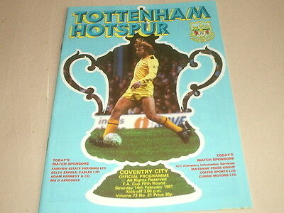 TOTTENHAM HOTSPUR v COVENTRY CITY - FA CUP 5th. ROUND 14 - 2 - 1981