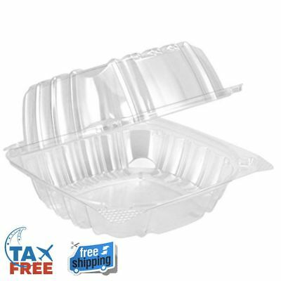 "Dart Container Dart 6"" Clear Hinged Plastic Food Take Out To-Go / Clamshell"