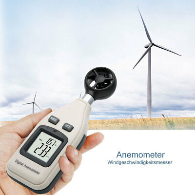 LCD Digitaler Windmesser Thermometer Anemometer Windgeschwindigkeit Meter