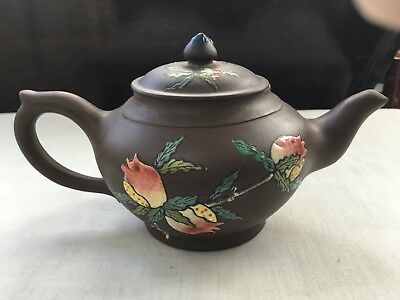 Vintage Antique Chinese Enamel Overlaid Dark Brown Clay Teapot - signed / marks