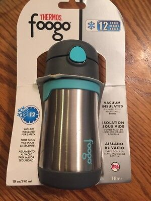 Thermos Foogo Vacuum Insulated Stainless Steel Bottle W/ Straw 10 Oz Teal 434317