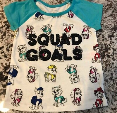 "Nwt Toddler Girl Paw Patrol ""squad Goals"" Shirt Size 4T"