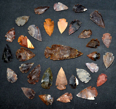 """32 PC Flint Arrowhead Ohio Collection Points 1-3"""" Spear Bow Knife Hunting Blade"""