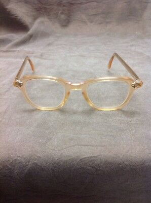 VINTAGE Bausch Lomb Safety Glasses 46/24 coral/cream Horn Rim EXCELLENT cond.