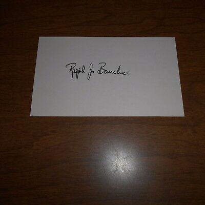 Ralph J. Bunche was an American political scientist, Hand Signed Index Card