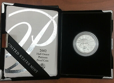 "2002-W  $50  Proof Platinum Eagle  ""Half Oz"" -  KEY DATE w/COA & Display"