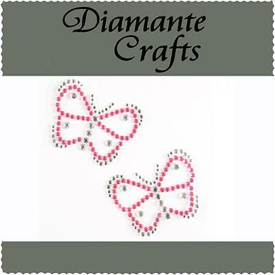 2 x 38mm Hot Pink & Clear Diamante Butterflies Rhinestone Vajazzle Body Art Gems