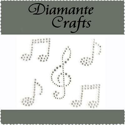 5 x Clear Diamante Music Notes Self Adhesive Rhinestone Vajazzle Body Art Gems