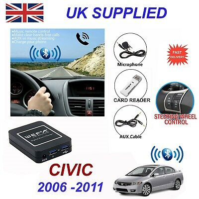 For Honda Civic Bluetooth HandsFree Phone AUX Input MP3 USB 1A Charger Module