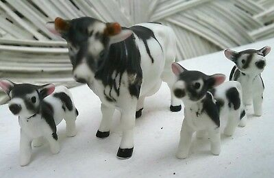 Vintage Japan Bone China Miniature Cow Family Calves