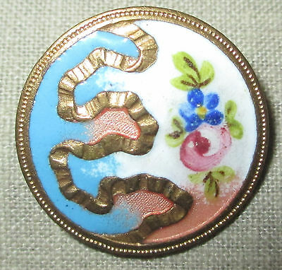 ANTIQUE FRENCH CHAMPLEVE ENAMEL BUTTON w HAND PAINTED FLOWER & GOLD GILT RIBBON