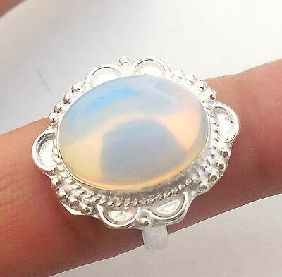 Girl's Jewellry Opalite Gemstone!! 925 Sterling Silver Plated Ring!