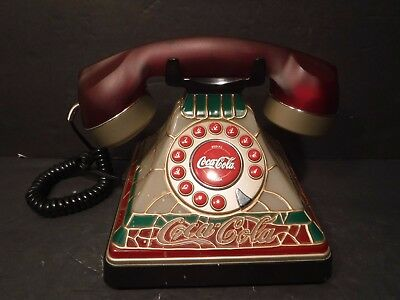Coca-Cola Tiffany Style Stained Glass Telephone Plug In Land Desk Phone Lighted