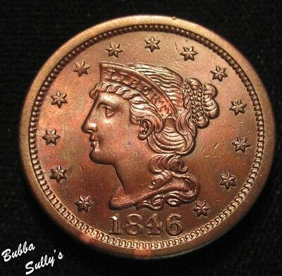 1846 Braided Hair Large Cent <> UNCIRCULATED Details