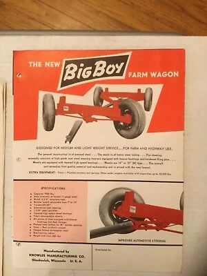 Knowles Manufacturing Co. Glenbeulah Wisconsin Big Boy Farm Wagon Date 1961