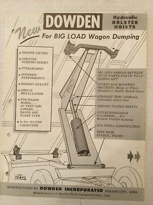 DOWDEN INCORPORATED PRARIE CITY IOWA Hydraulic Booster Hoists Dated Aug, 1960