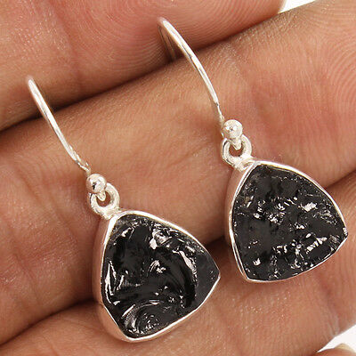 925 Sterling Silver Indina Jewelry 1 Pair Earrings Natural BLACK TOURMALINE Gems