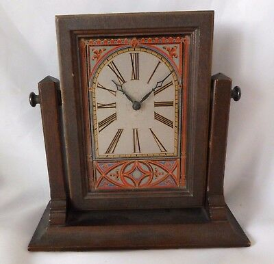 Antique Mantel Clock Swivel Arts And Crafts Vintage