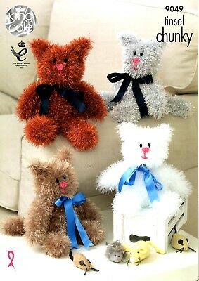 King Cole 9049 Tinsel Chunky Knitting Pattern 2 sizes of Cats Toy Present Gift