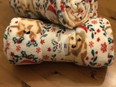 Tesco Christmas Dog Fleece Throw Blanket. Cockapoo, Dachshund, Spaniel