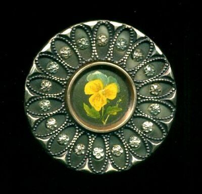 Antique Button...Large Victorian Celluloid with Yellow PANSY Lithograph Center