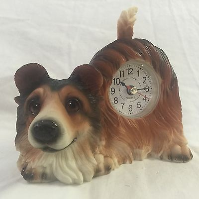 BLACK FRIDAY DAY SALE Critter Clock Collie Tabletop Wagging Tail Puppy Dog