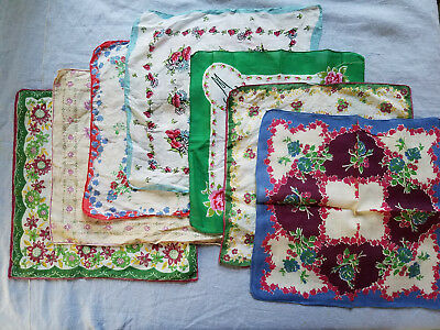 7 vintage hankies printed flowers linen and cotton some hand rolled edges