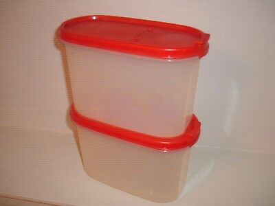 MODULAR MATE Tupperware Oval Storage Containers RED LIDS