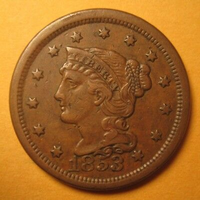 1853 Large Cent (Repunched Date. N19/R1) – Original & Nice (ANACS VF 35) !