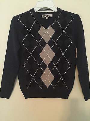 Nwt~Boy's Dark Blue And Gray Argyle L/s V-Neck Sweater Size S Small~W/tag~Nwt