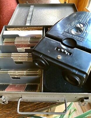 Vtg 1950s Brumberger 3D Realist Stereo Viewer Stereoviewer w/ Metal Box & Slides