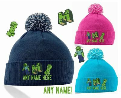 Kids Minecraft Design Winter Bobble Hat Personalised Embroidered With Any Name!
