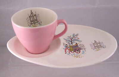 VINTAGE BESWICK Dancing Days FROLIC TEA CUP & SANDWICH PLATE OVAL SAUCER SET