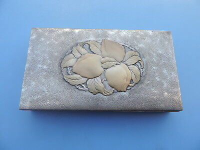 Antique Signed Japanese Sterling Silver Scholar Box W Peaches In Relief Japan