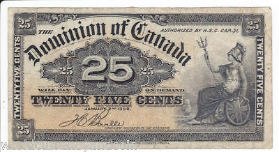 Canada 25 Cents Dc24 1900 Dominion Of Canada Fractional Note