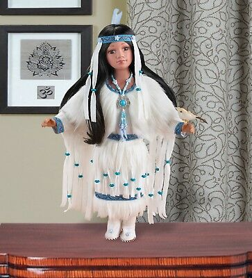 Heritage Porcelain Native American Maiden White Blue Beaded Dress with Bird Doll